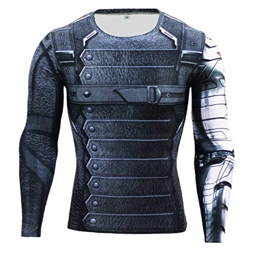 Cosfunmax Winter Soldier Shirt Super Hero Compression Sports Shirt Men's Long Sleeve Fitness Tee Gym T-Shirt XXL