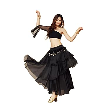 6beff94385 BellyQueen 3pcs Summer Sexy Indian Belly Dancing Costumes Sets Costume  Indian Dance Single Shoulder Skirts (