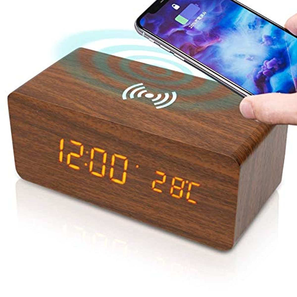 [해외] 자명종 탁상시계 멋쟁이 디지털 #방향 하여 시계 온도계【우드 그레인/wireless 충전 탑재】HOCO. H02