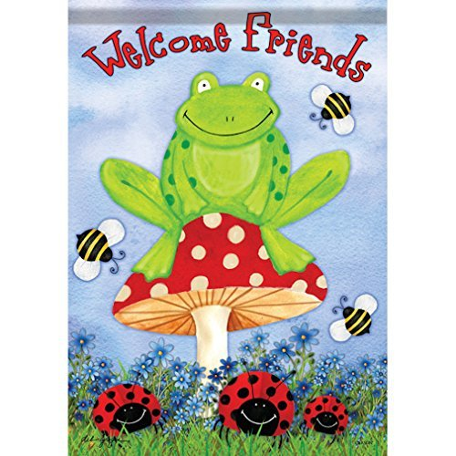 Frog Garden Sign (Carson Home Accents FlagTrends Classic Garden Flag, Frog on Toadstool)