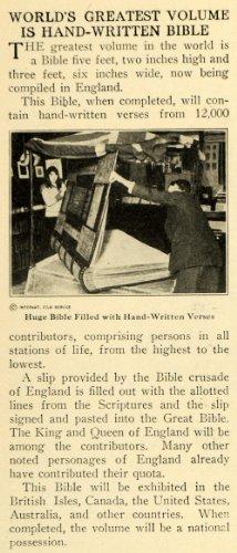 1920 Print Huge Bible Hand Written Verse England Script - Original Halftone Print