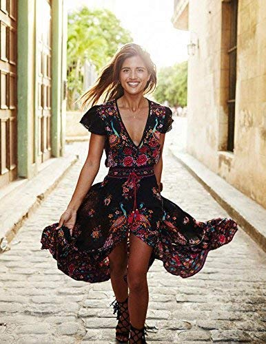 Easily Wear Breathable Chic Design Fashion Summer Vintage Boho Long Maxi Evening Party Beach Dress Floral