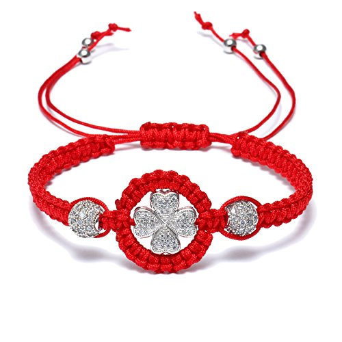 HUANSHA Red Rope Bracelets for Women Lucky Handmade String Clover Charm Adjustable Bracelet Silver