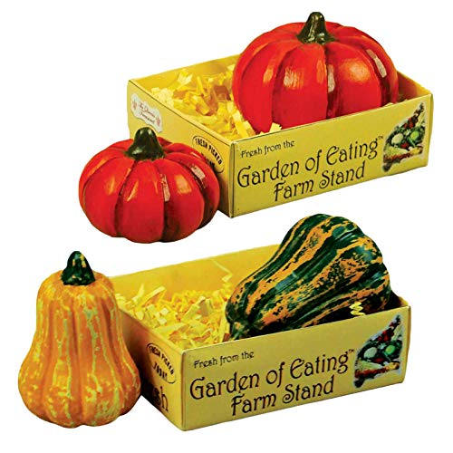 The Queen's Treasures Farm Fresh Set of 2 18 Inch Doll Pumpkins & 2 Gourds Packed in a Paper Veggie Crate! Food Kitchen Accessories Fits American Girl Dolls & More. -