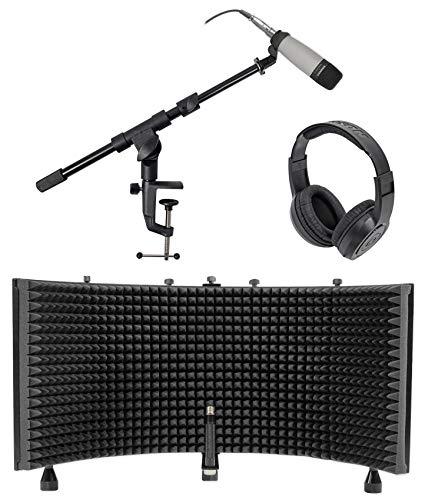 (Samson C01 Studio Condenser Recording Microphone Mic+Stand+Headphones+Shield)