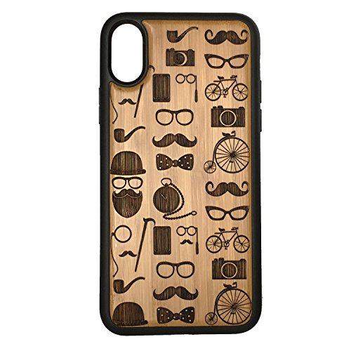 Hipster Icons iPhone Case Cover for iPhone Xs MAX by iMakeTheCase Eco-Friendly Bamboo Wood Cover + TPU Wrapped Edges Mustache Beard Glasses Bowtie Tophat Pipe Camera Bicycle Monocle ()