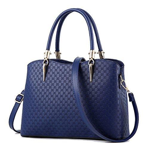 WU ZHI Bolsos De Mujer Wild Messenger Bag Bolsos De Hombro De Gran Capacidad PU 30cm × 13cm × 22cm Blue