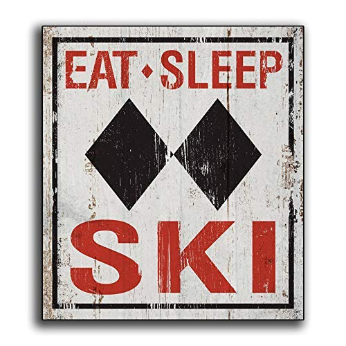 Big Game Lodge Wood - Eat Sleep Ski Wood Sign Sport Man cave Game Room Chalet Lodge Cabin Sking Colorado Print Wooden Decor Wall Art Signs Gift bh 682958