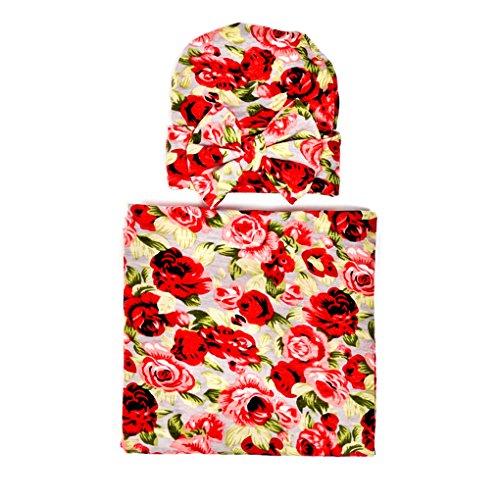 Ufraky Newborn Flower Print Swaddle Blanket Hat Baby Sleeping Bag Sleepsack Stroller Wrap (Red)