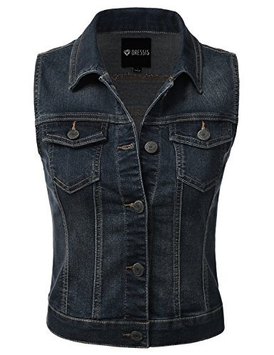 DRESSIS Womens Casual Sleeveless Denim Jean Cropped Vest Jacket DARKBLUE S