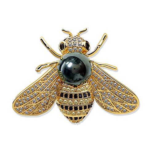 (CRARINE Women Crystal Brooch Pins Wedding Brooches Bouquet Cute Animal Bee Butterfly Dragonfly Pearl Swarovski (Bee Black)