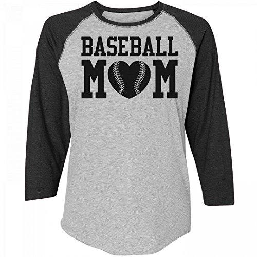 Proud Baseball Mom Pride Jersey: Junior Fit District Mesh Sleeve V-Neck Tee (Jersey Heart Baseball)