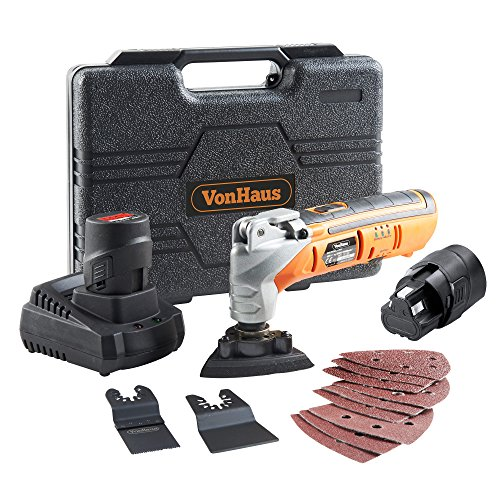 VonHaus 12 Volt Cordless Oscillating Multi-Tool Kit with 2 Lithium-Ion Batteries,Variable Speeds, Quick Blade Change System and 12-Piece Accessory Set with Storage Case