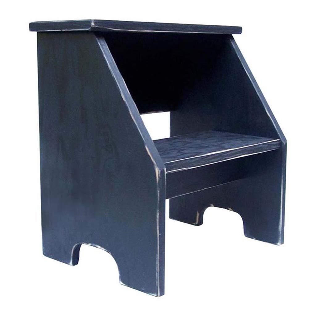 PENGFEI 2段スツール 無垢材 幼稚園 フットスツール ホーム 靴のベンチを変更 フラワースタンド 3色 脚立 踏み台ステップ チェア (色 : ブラック) B07QS8V9RP ブラック