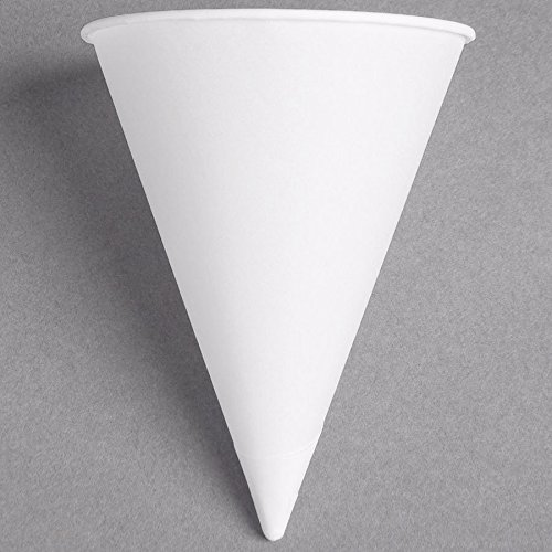 Dart Solo 5RB-2050 Bare Eco-Forward 5 oz. White Rolled Rim Paper Cone Cup with Poly Bag Packaging - 200/Pack by Dart Solo