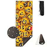 Yellow Table Tennis Expression Printing Yoga Mat Towel Fashion Non-Slip For Paddle Board Yoga,Yoga And Pilates Sports Exercise 24 X 71 Inches Great Durable Mats