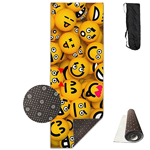 Yellow Table Tennis Expression Printing Yoga Mat Towel Fashion Non-Slip For Paddle Board Yoga,Yoga And Pilates Sports Exercise 24 X 71 Inches Great Durable Mats by Shengyu