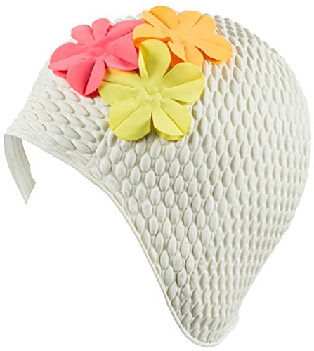 Latex Swim Cap - Women Stylish Swimming Cap Great for Ladies, Perfect to Keep Hair Dry - Suitable for Long Hair - Bubble Crepe with White and Colored Flowers