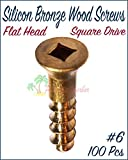 Paradise Harbor #6 x 1-1/2'' Silicon Bronze Wood Screws Flat Head Screws Flat Head Wood Screws Square Drive Screws Square Drive Flat Head Wood Screws