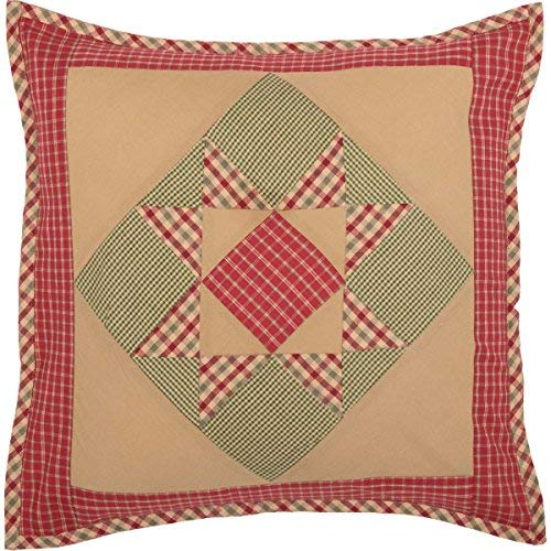 VHC Brands Primitive Holiday Pillows & Throws - Dolly Star Tan Patchwork 18