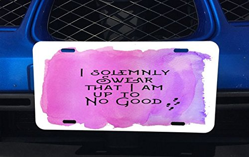 I Solemnly Swear That I Am Up To No Good Quote Pink Background Design Print Image Artwork Aluminum License Plate for Car Truck Vehicles Trendy Accessories