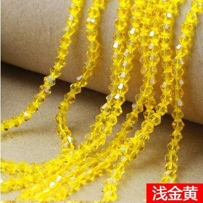 (Pukido Bicone Faceted Glass Cystal Beads 4mm 350pcs Colorful Spacer Loose Beads for Jewelry Making Bracelet DIY - (Color: Yellow, Item Diameter: 4mm))