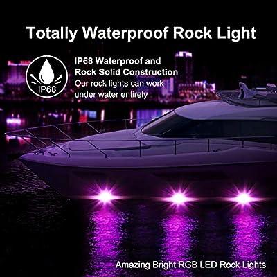 RGB Rock Light Kits, OFFROADTOWN RGB LED Rock Lights with 8 pods Lights Neon Trail Rig Lights Underglow UTV ATV SUV Off Road Truck Boat: Automotive