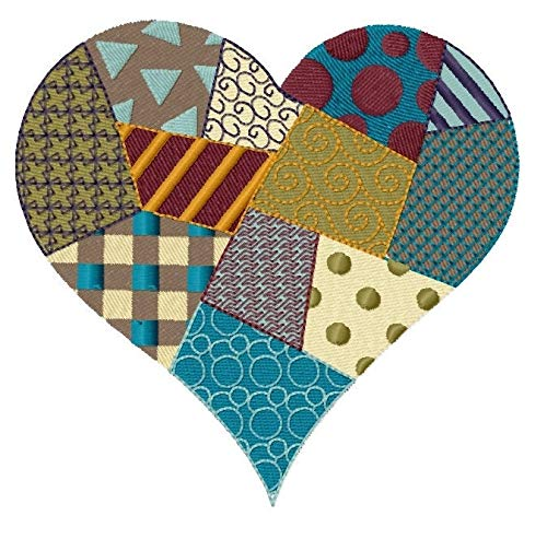 Patchwork Heart (4.99 x 4.83 inches) Iron-on Patch - Iron on Patch - Embroidered Patch - MADE TO ORDER