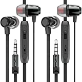 In-Ear Headphone Earbuds (2 Pack), FosPower Tangle Free Flat Cord, Noise Isolating Earphone w/ Mic & Audio Control for iPhone 6S Plus/6S/iPad/Macbook, Galaxy S8 Plus/Note 8, PS4, Xbox - Black