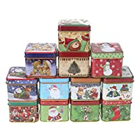globeagle 12pcs Tinplate Storage Box Mini Square Christmas Tin Candy Box Cookies Baking Gift Packing Case Caddy Box Home Kitchen Desktop Storage Tin Canister for Wedding Party Favors, and Gifts