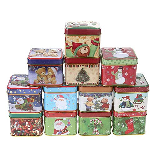 Gowind7 12Pcs Christmas Tin Box,Mini Square Candy Cookies Baking Gift Packing Case