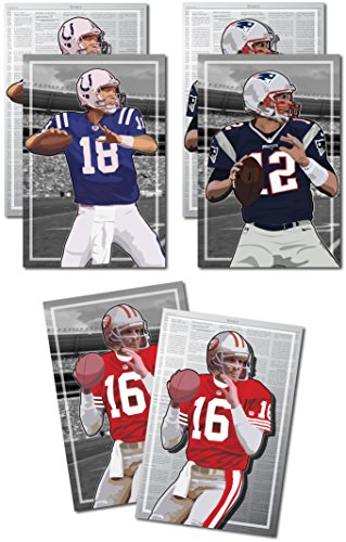 Oakley Graphics 3 Posters of NFL QB Legends - Joe Montana, Peyton Manning, Tom Brady Art Prints - Buy 1 Get 2 Free, 3 Total Prints (2-Sided) (Medium Set - 12