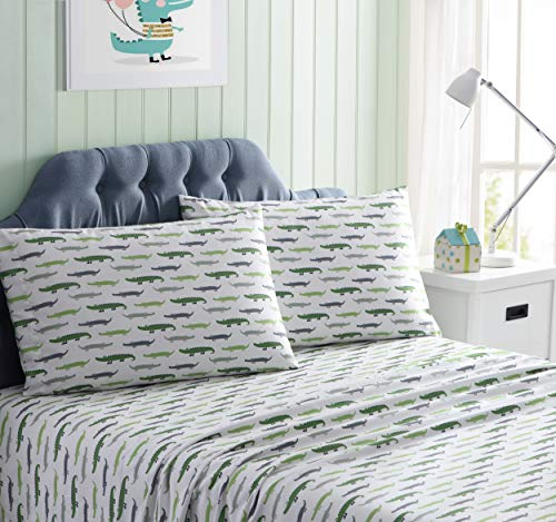 Alligator Set Bed - Kute Kids Super Soft Sheet Set - Gators - Includes Pillowcase(s) Available in Twin, Full & Queen Size (Twin)