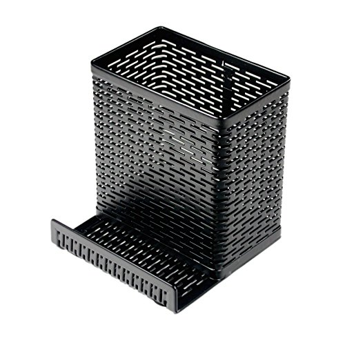 Artistic Urban Collection Punched Metal Pencil Cup with Cell Stand, Black (ART20014) (Punched Metal Black)
