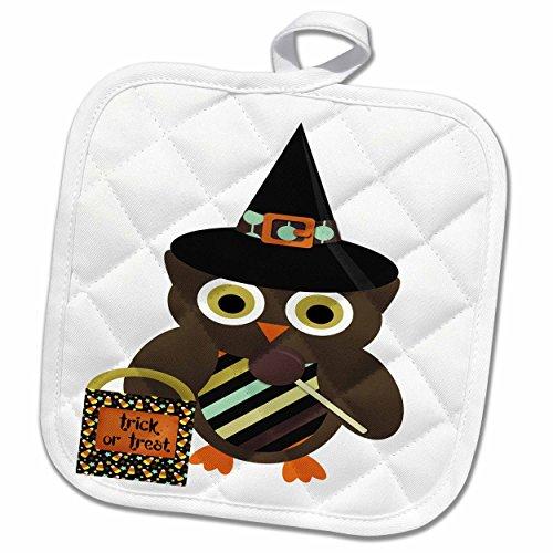 Cute Halloween Treats For School (3dRose Anne Marie Baugh - Halloween - Cute Halloween Owl With Trick Or Treat Illustration - 8x8 Potholder (phl_216742_1))