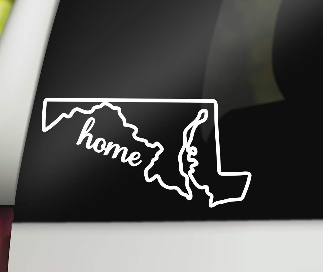 Maryland home decal for car white vinyl