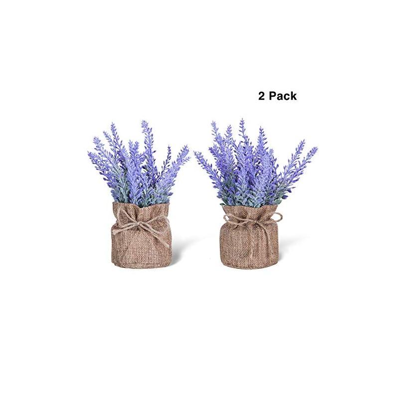 silk flower arrangements artificial mini potted flowers plant lavender for home decor party wedding garden office patio decoration (linen 2set)