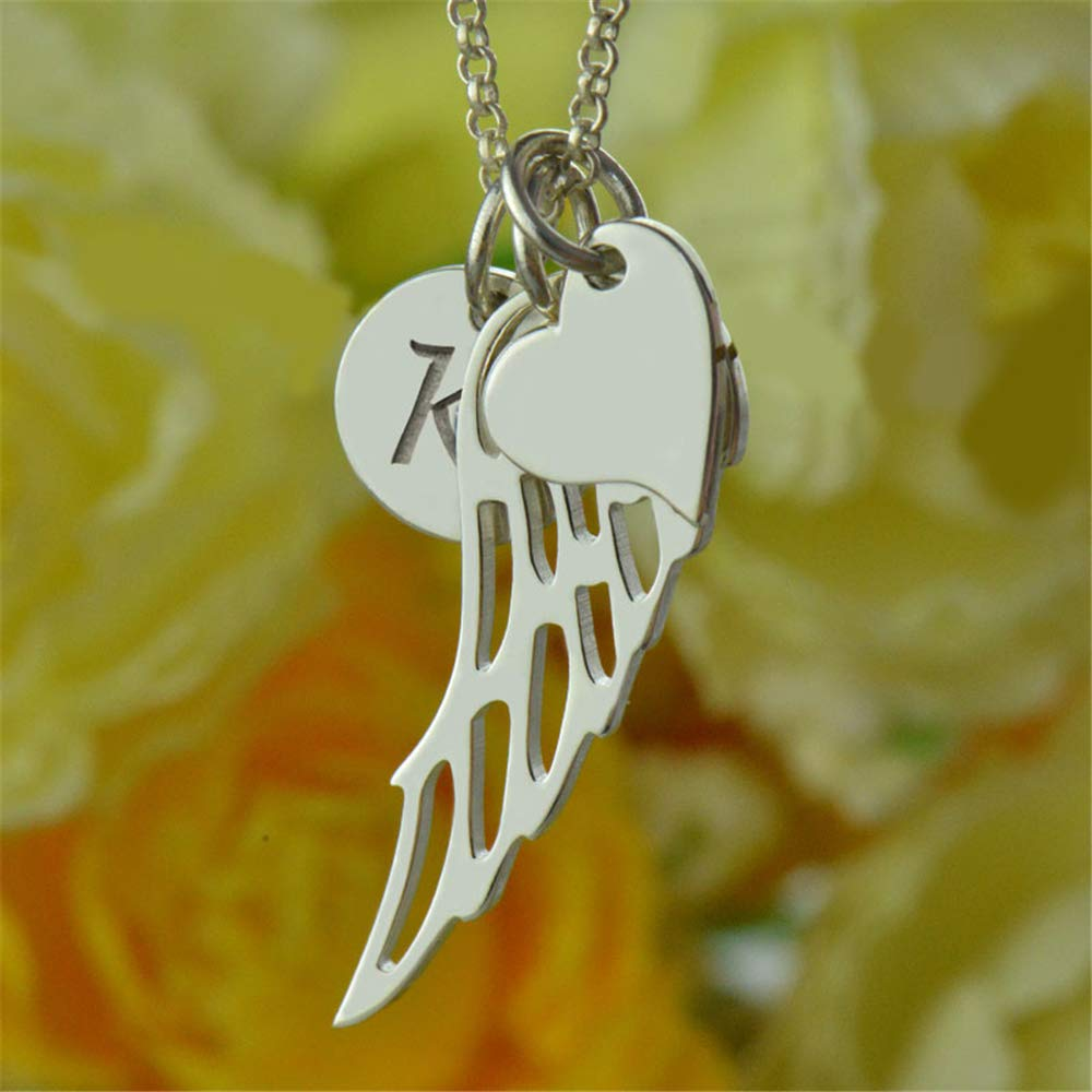 Jumping Birthstone Love Heart Angel Wing Necklace Personalized Initial Necklace Sterling Silver Name Jewelry