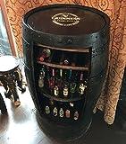 Mobiletto da bar per uso domestico a forma di botte in rustico rovere massello, con marchio Guiness