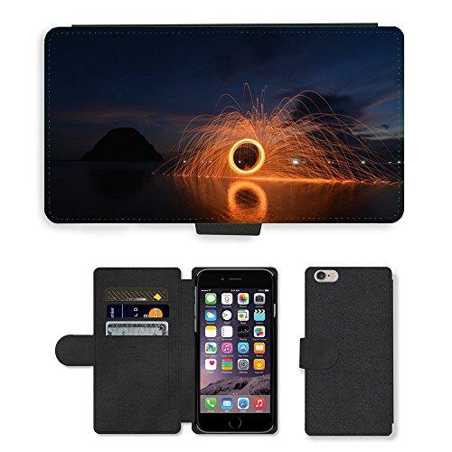 "PU Leather Cover Custodia per // M00421750 Paille de fer Sunset Red Island Beach // Apple iPhone 6 PLUS 5.5"""