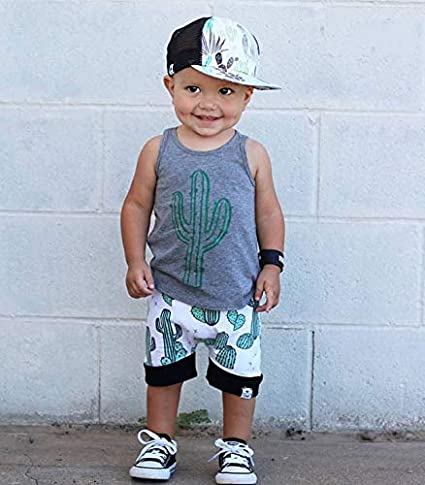 Mamas Boy Sleeveless Vest Tee Tops+Coconut Leaf Print Drawstring Shorts 2Pcs Summer Baby Boys Outfits