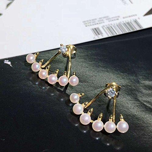 HJPRT little devil s925 silver stud earrings earings dangler eardrop freshwater pearl (golden
