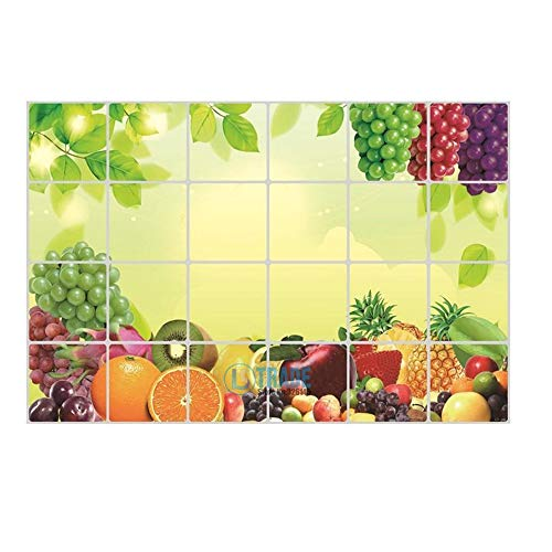 NUANNUAN Waterproof Anti-oil Colorful Fruits Pattern Wall Stickers Murals Tile Aluminum Foil Decals Decoration for Kitchen ()