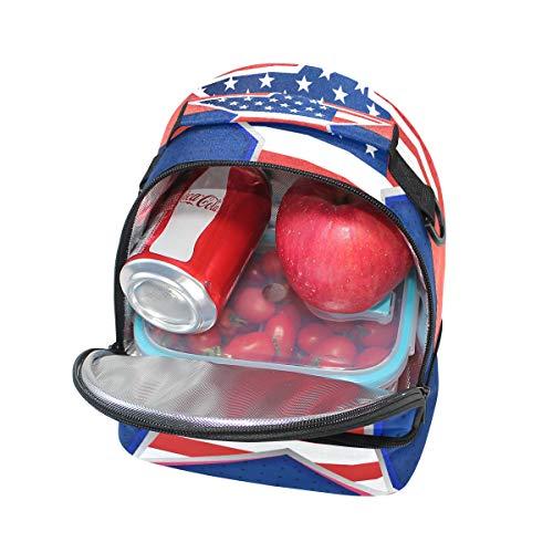 à pour Sac Pincnic bandoulière Cooler à réglable Drapeau avec étoiles l'école Boîte isotherme lunch américain Folpply Tote Ow4xB