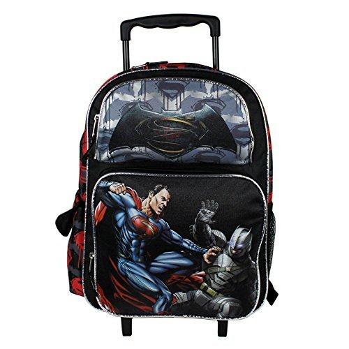 NEW DC Batman v Superman Movie Large 16 Back to School Black Rolling Backpack-Black -