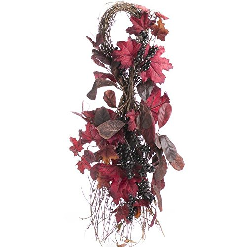 Factory Direct Craft Rustic, Primitive, Farmhouse Premade Artificial Autumn Leaves, Berries on Natural Twig Teardrop Wreath for Fall and Thanksgiving Decorating