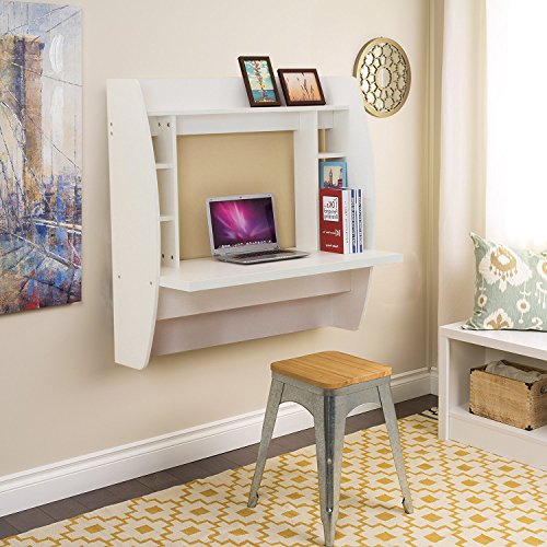 WBhome Floating Desk with Storage Wall Mounted White by WBhome