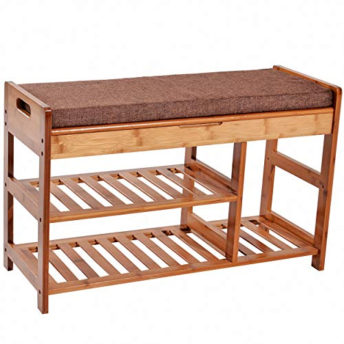 C&AHOME Extra Large Size Shoe Storage Bench Entryway Bamboo Rack Shelf Organizer with Cushion and Storage Drawer Under Seat (Bench Storage All Wooden Natural)