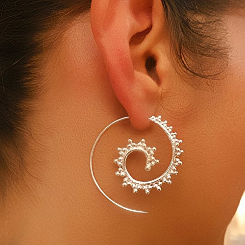 Silver Earrings - Silver Spiral Earrings - Gypsy Earrings - Tribal Earrings - Ethnic Earrings - Indian Earrings - Statement Earrings (ES4)