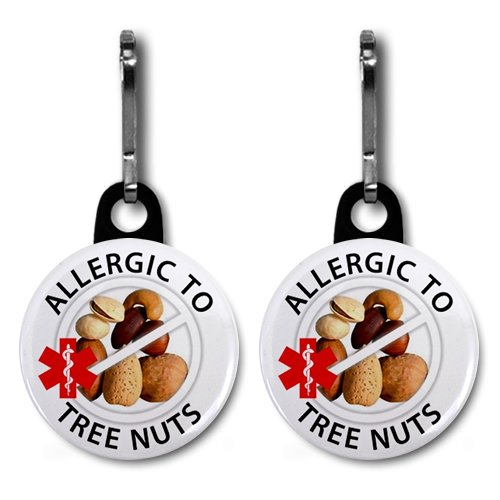 ALLERGIC to TREE NUTS Allergy Medical Alert 2-Pack 1 inch Black Zipper Pull Charms